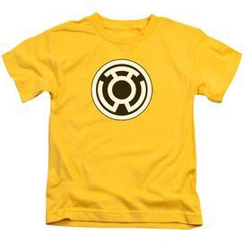 Green Lantern Sinestro Corps Logo Short Sleeve Juvenile Yellow T-Shirt