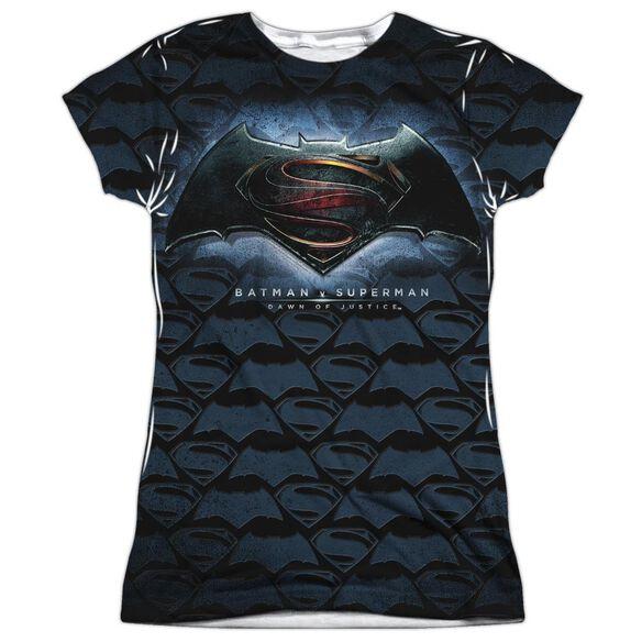 Batman Vs Superman Logo Pattern Short Sleeve Junior Poly Crew T-Shirt