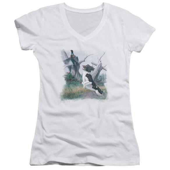 Wildlife Springer With Pheasant Junior V Neck T-Shirt