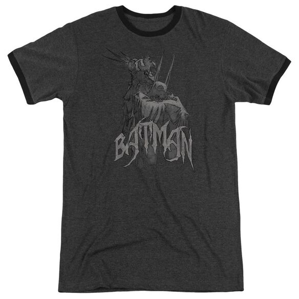 Batman Scary Right Hand Adult Heather Ringer Charcoal