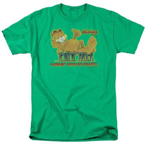 Garfield My Peeps Short Sleeve Adult Kelly Green T-Shirt