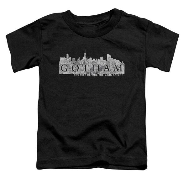 Gotham Skyline Logo Short Sleeve Toddler Tee Black T-Shirt