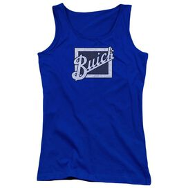 Buick Distressed Emblem Juniors Tank Top Royal