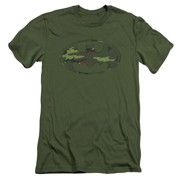 Batman Distressed Camo Shield Short Sleeve Adult Military T-Shirt