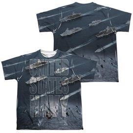 Navy Fleet (Front Back Print) Short Sleeve Youth Poly Crew T-Shirt