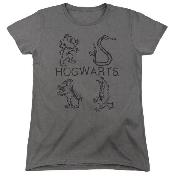 Harry Potter Literary Crests Short Sleeve Womens Tee T-Shirt