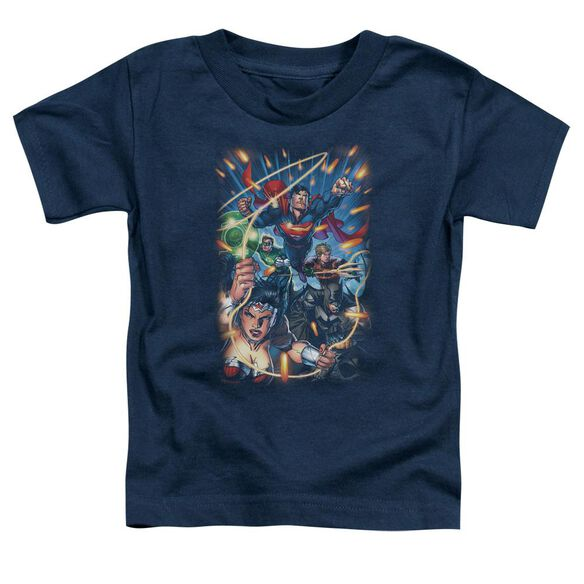 Jla Under Attack Short Sleeve Toddler Tee Navy T-Shirt