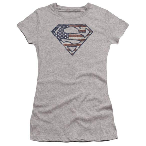 Superman Wartorn Flag Premium Bella Junior Sheer Jersey Athletic