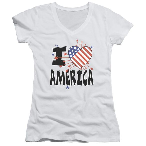 I Heart America Junior V Neck T-Shirt