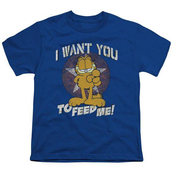 Garfield I Want You Short Sleeve Youth Royal T-Shirt