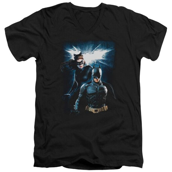 Dark Knight Rises Bat & Cat Short Sleeve Adult V Neck T-Shirt