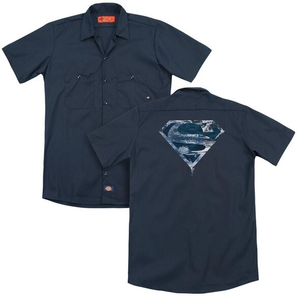 Superman Water Shield (Back Print) Adult Work Shirt