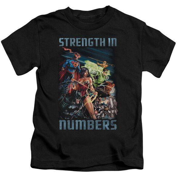 Jla Strength In Number Short Sleeve Juvenile Black T-Shirt