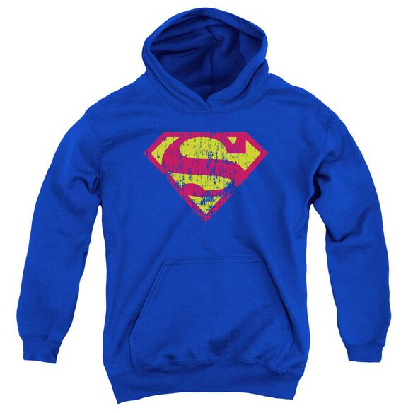 Superman Classic Logo Distressed Youth Pull Over Hoodie
