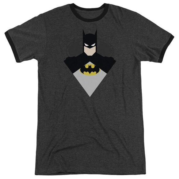 Batman Simple Bat Adult Heather Ringer Charcoal
