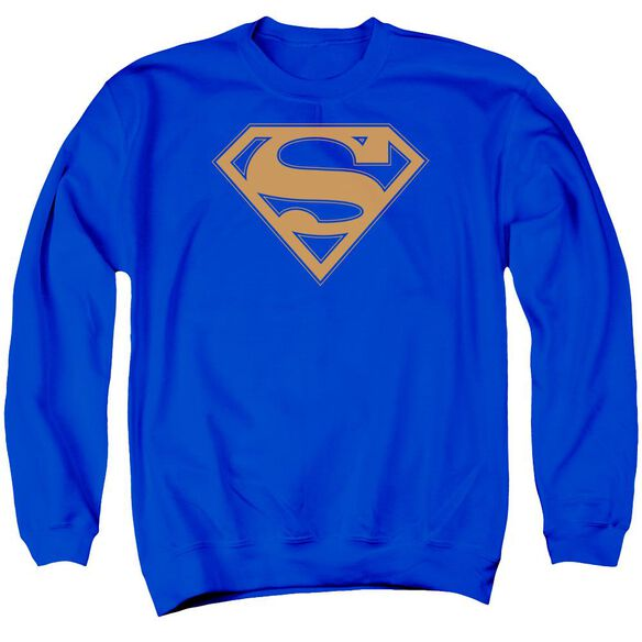 Superman &Amp; Orange Shield Adult Crewneck Sweatshirt Royal