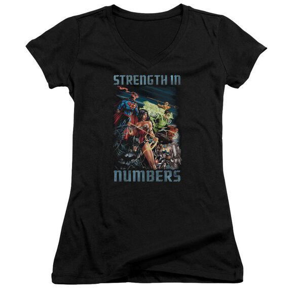 Jla Strength In Number Junior V Neck T-Shirt