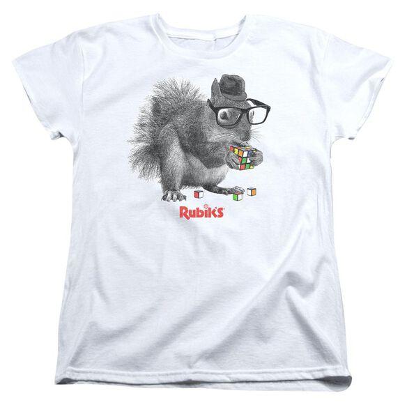 Rubiks Cube Nerd Squirrel Short Sleeve Womens Tee T-Shirt
