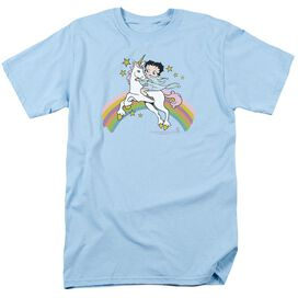 Betty Boop Unicorn & Rainbows Short Sleeve Adult Light Blue T-Shirt