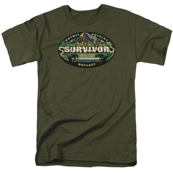 Survivor Gabon Logo Short Sleeve Adult Military Green T-Shirt