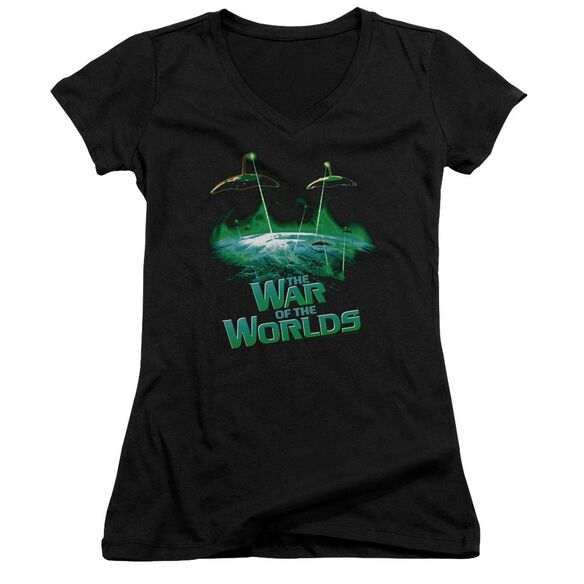 War Worlds Global Attack Junior V Neck T-Shirt