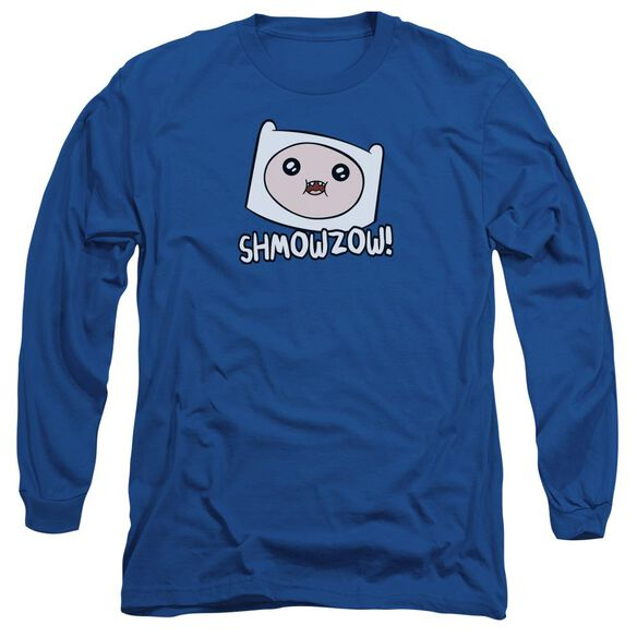 Adventure Time Shmowzow Long Sleeve Adult Royal T-Shirt