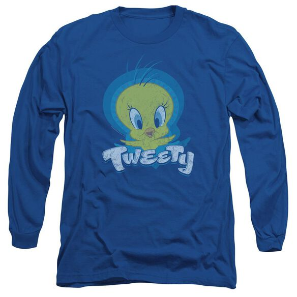 Looney Tunes Tweety Swirl Long Sleeve Adult Royal T-Shirt