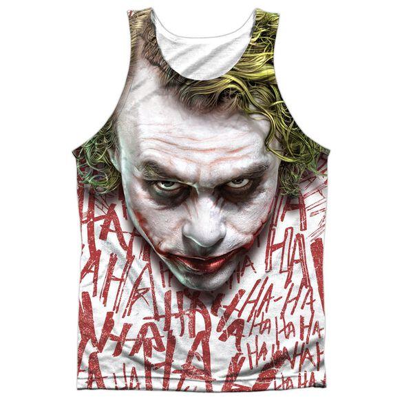 Dark Knight Joker Face Adult 100% Poly Tank Top