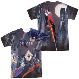 Batman The Animated Series Bounce (Front Back Print) Short Sleeve Adult Poly Crew T-Shirt