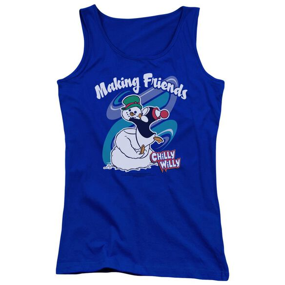 Chilly Willy Making Friends Juniors Tank Top Royal