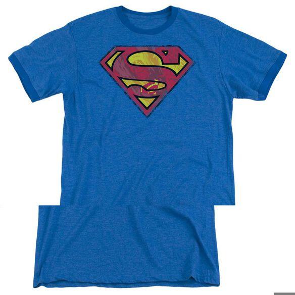 Superman Action Shield - Adult Heather Ringer - Royal Blue