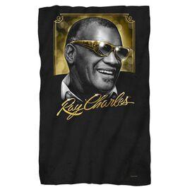 Ray Charles Golden Glasses Fleece Blanket