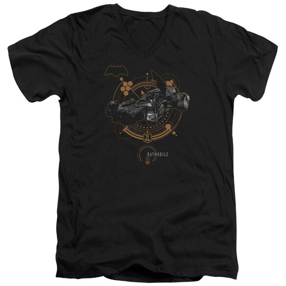 Justice League Movie Batmobile Short Sleeve Adult V Neck T-Shirt