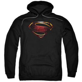 Justice League Movie Superman Logo Adult Pull Over Hoodie Black