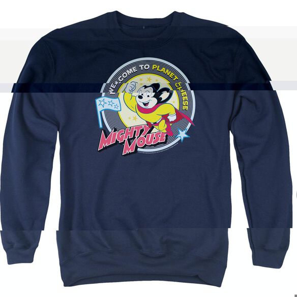 Mighty Mouse Planet Cheese - Adult Crewneck Sweatshirt - Navy