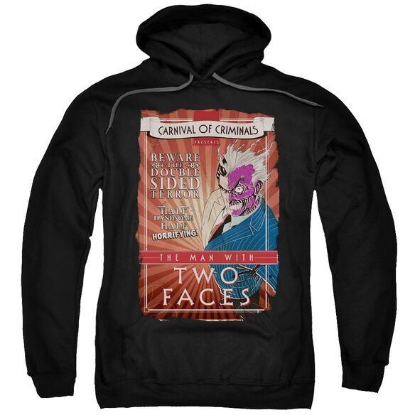 Batman Two Faces Adult Pull Over Hoodie Black