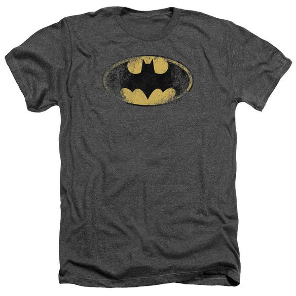 Batman Destroyed Logo Adult Heather