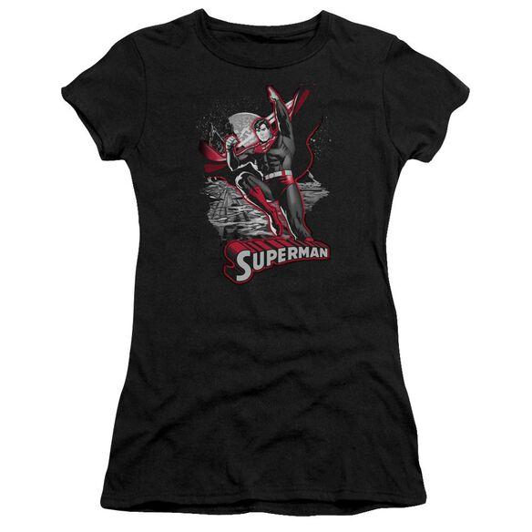 Jla Superman Red & Gray Short Sleeve Junior Sheer T-Shirt