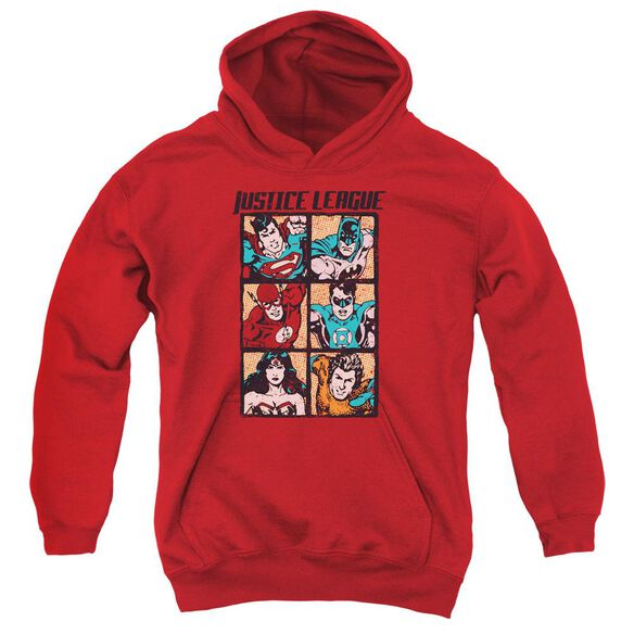 Jla Rough Panels Youth Pull Over Hoodie