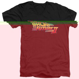 BACK TO THE FUTURE II LOGO - S/S ADULT V-NECK 30/1 - BLACK T-Shirt