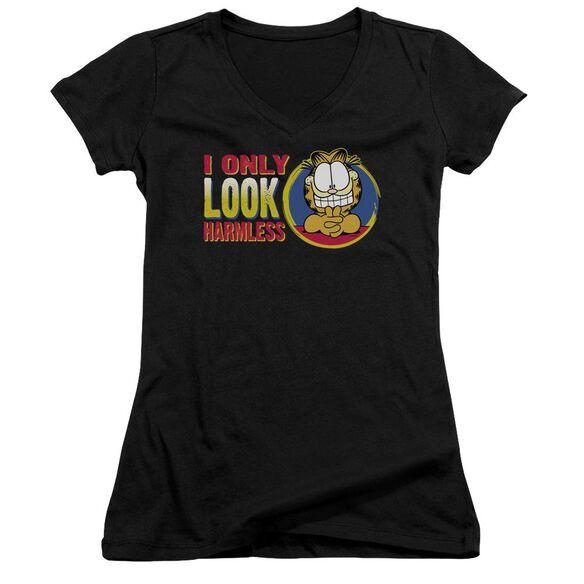 Garfield I Only Look Harmless Junior V Neck T-Shirt