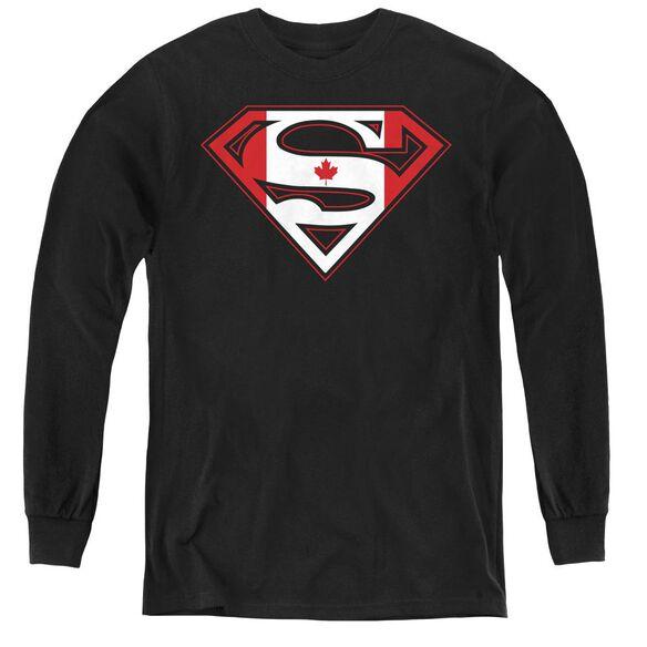 Superman Canadian Shield - Youth Long Sleeve Tee - Black