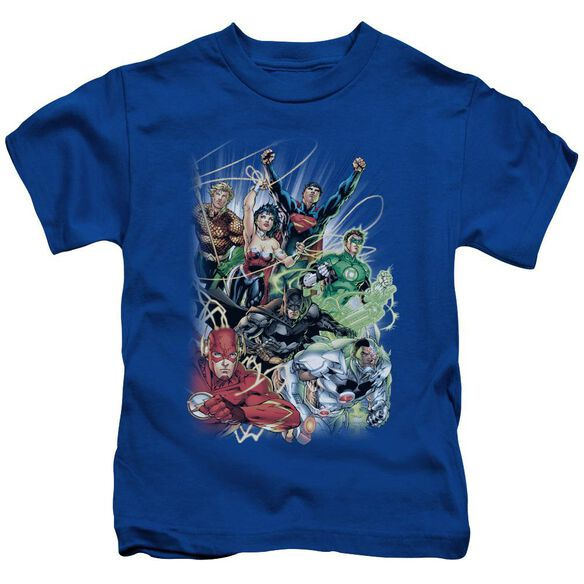 Jla Justice League #1 Short Sleeve Juvenile Royal Blue Md T-Shirt