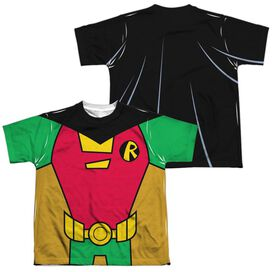 Teen Titans Go Robin Uniform (Front Back Print) Short Sleeve Youth Poly Crew T-Shirt