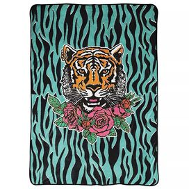 "Tiger King Roses Plush Blanket 62"" x 90"""