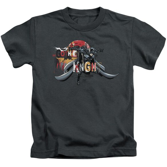 Dark Knight Rises Gothic Knight Short Sleeve Juvenile Charcoal T-Shirt
