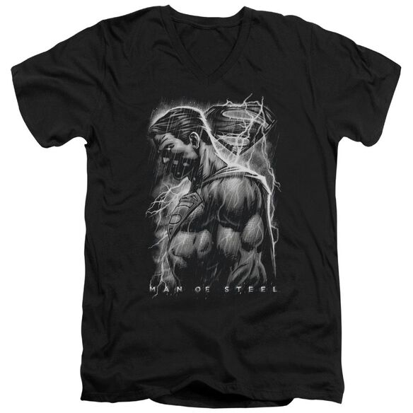 Man Of Steel Steel Rain Short Sleeve Adult V Neck T-Shirt