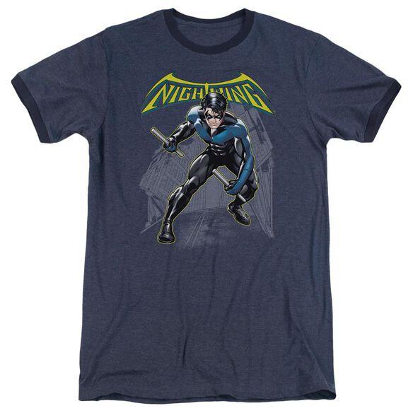 Batman Nightwing - Adult Heather Ringer - Navy