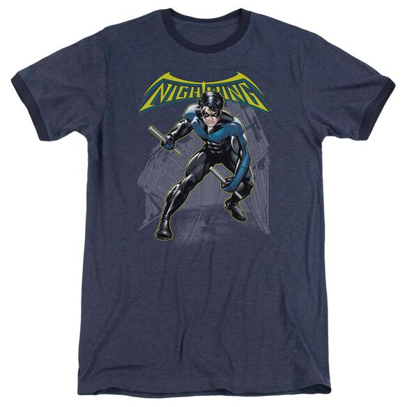 Batman Nightwing Adult Heather Ringer Navy