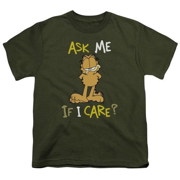 GARFIELD ASK ME IF I CARE - S/S YOUTH 18/1 - MILITARY GREEN T-Shirt